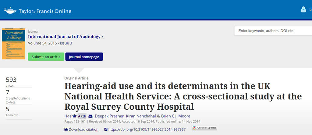 international journal of audiology - hearing aid use