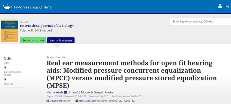 international journal of audiology - real ear measurement