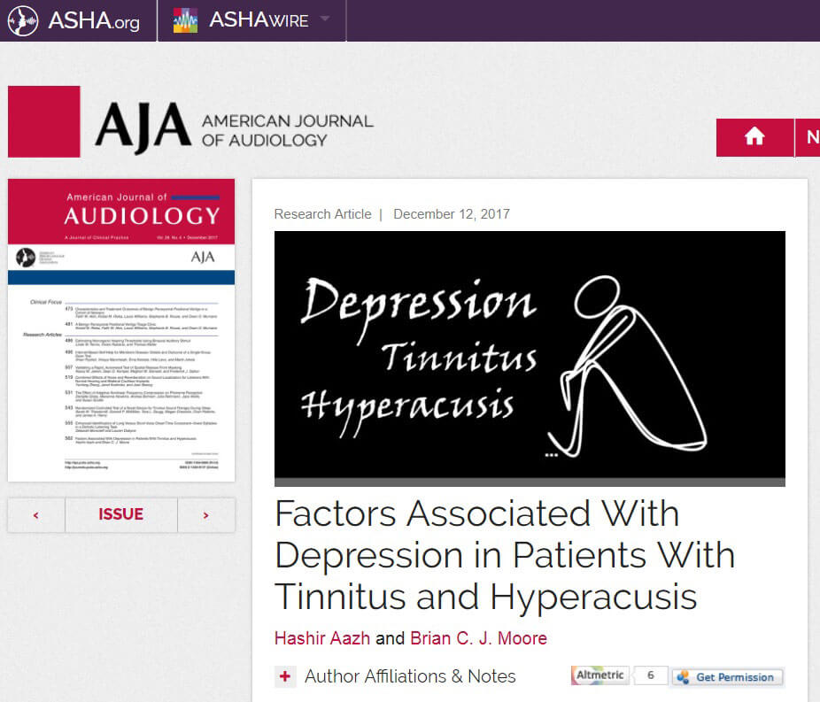 americal journal of audiology - depression factors