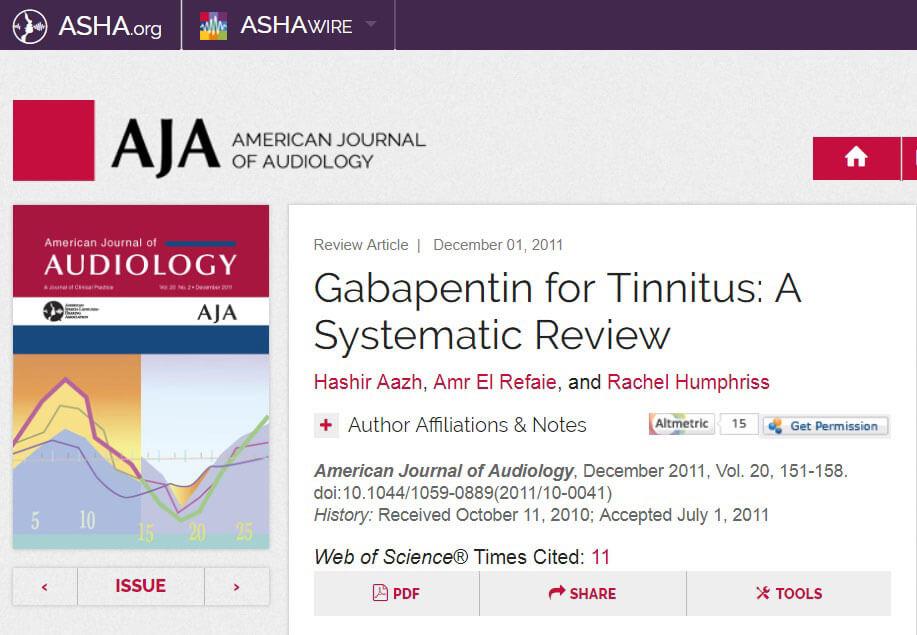 gabapentin for tinnitus